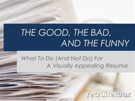 what to do and not do for a visually appealing resume