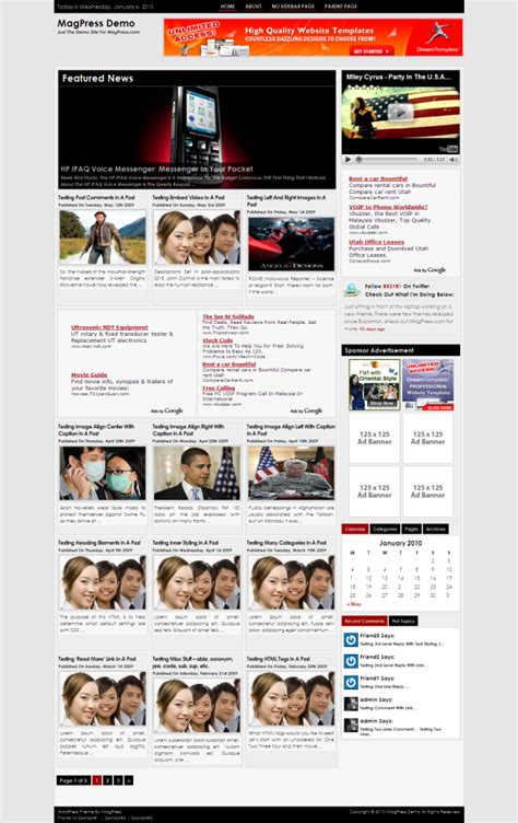 html magazine themes free magazine wordpress theme zinet magpress com