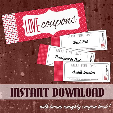romantic and printable love coupons for him glitter n