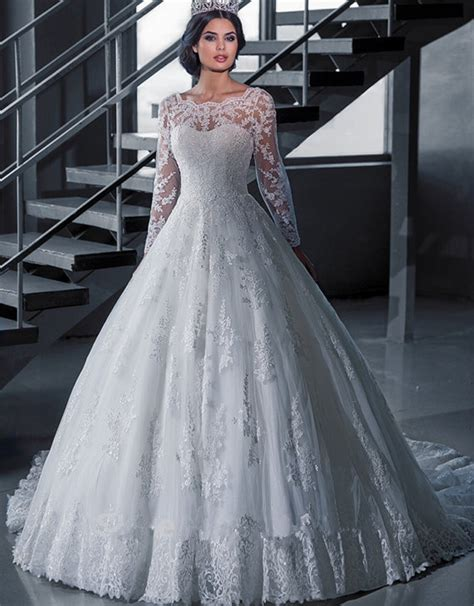 Lspowg65 Wedding Dress Quality style sleeve bridal wedding dress princess gown wedding dress high quality scoop