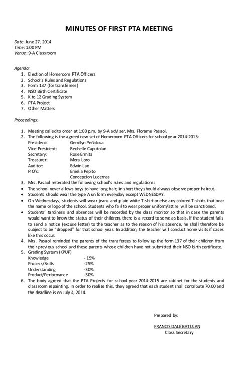 parents meeting letter format records of pta meetings