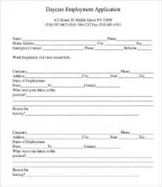 Child Care Employment Application Template by Application For Employment Form 9 Free Word Pdf
