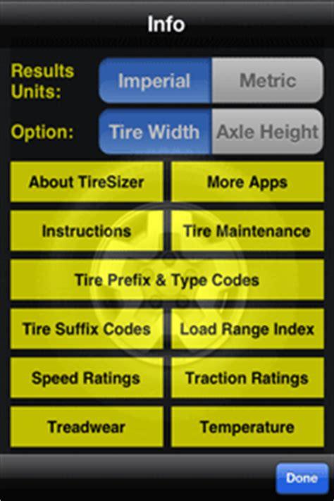 tiresizer tire size calculator app  ipad iphone ipod touch