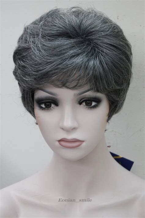 best style wigs for the elderly fashion black with gray white middle aged women elderly