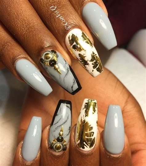 light grey nail grey acrylic nails 27 best designs
