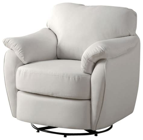 Swivel Leather Chairs Living Room Monarch Specialties 8062 Leather Look Swivel Accent Chair In White Traditional Living Room