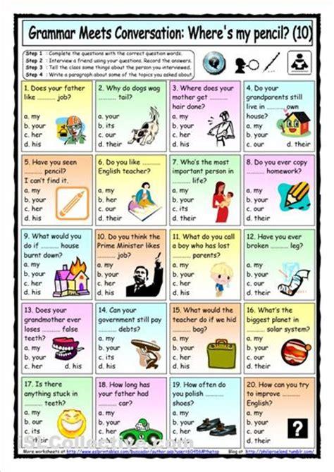 printable adjectives poster possessive pronouns elementary leve a1 english sla