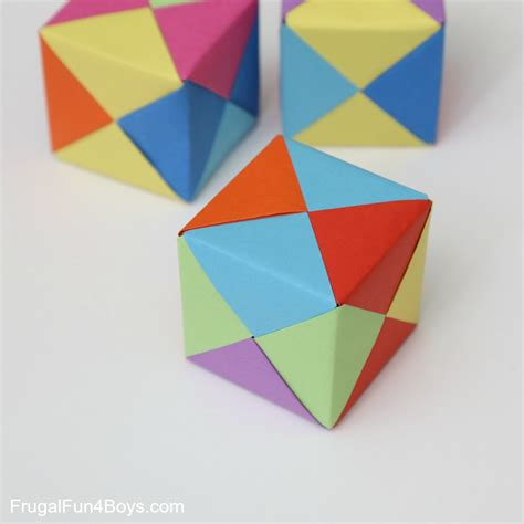 Origami Square Paper - how to fold origami paper cubes frugal for boys and