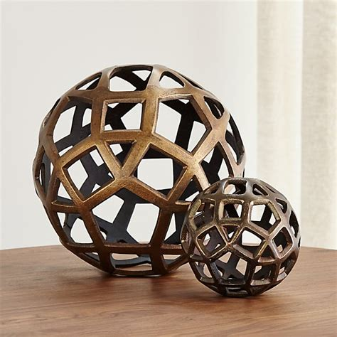 geo decorative metal balls crate  barrel