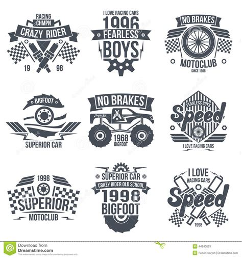 Tshirt Jazz Racing Club Bdc emblems retro vintage race and cars stock vector