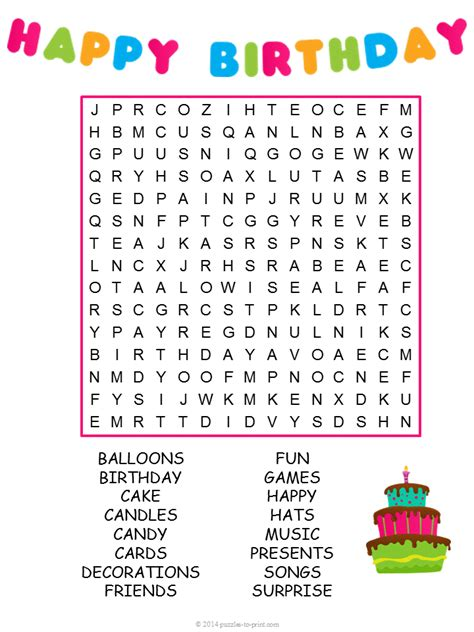 printable find a word games birthday word search puzzle