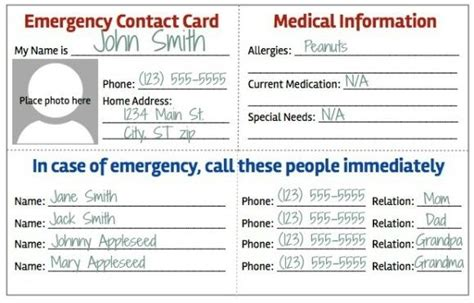 school emergency contact card template in of emergency card template pertamini co