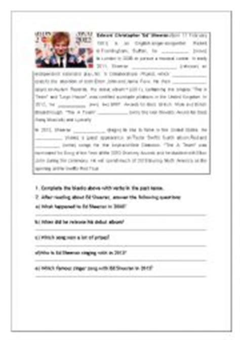 ed sheeran biography in english english worksheets give me love by ed sheeran