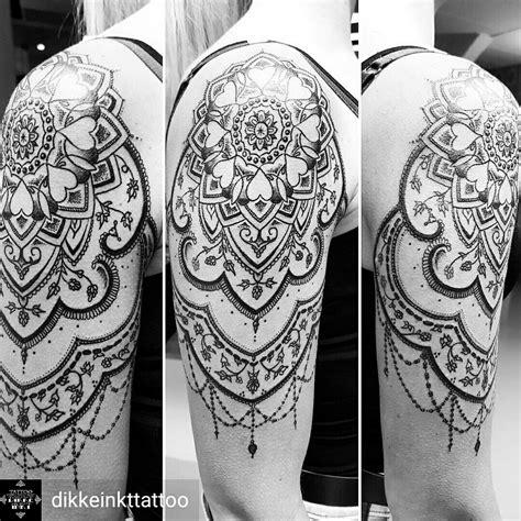 female upper arm tattoos mandala dotwork shoulder arm black and
