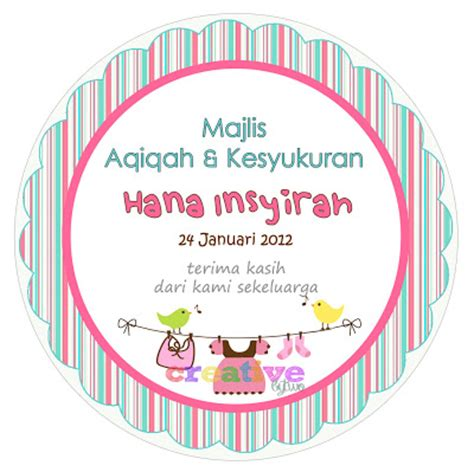 design tag aqiqah creative by two design and printing expertise hana