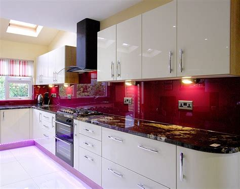 red and purple bathroom glass splashbacks and countertops in any colour kitchen