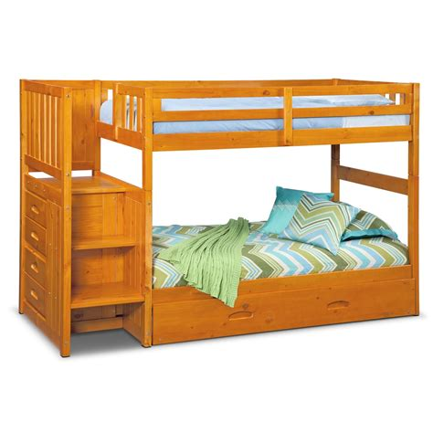 ranger twin over twin bunk bed with storage stairs trundle pine american signature furniture