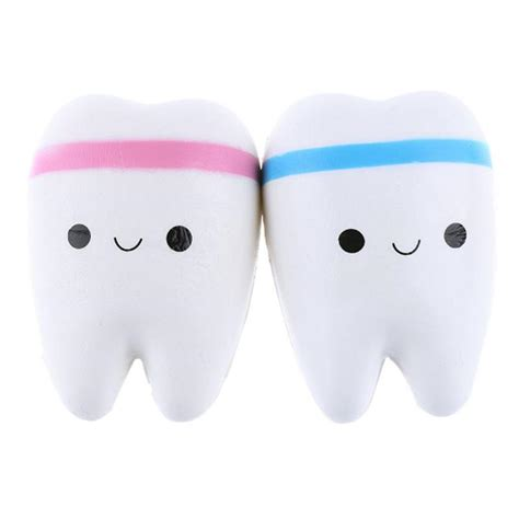 Squishy Gigi Medium Squishy Teeth sanqi elan 11cm simulation teeth soft squishy rising original packing chain
