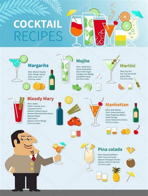 cocktail recipes poster cocktail rezepte poster stockvektor 169 macrovector 130072450