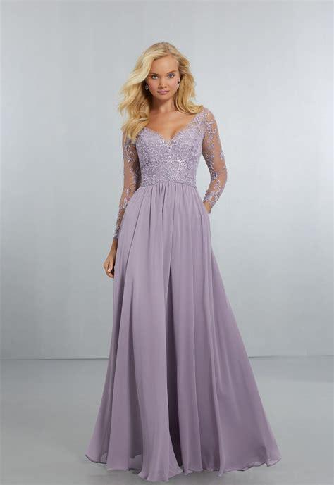chiffon bridesmaids dress  intricately embroidered