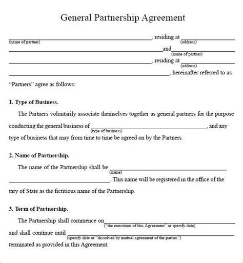 Agreement Letter Of Partnership printable sle partnership agreement sle form real