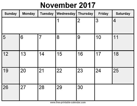 Blank November 2017 Calendar Template november 2017 printable calendar monthly calendar template