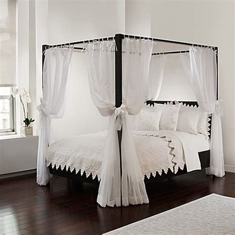 Buy Tie Sheer Bed Canopy Curtain Set in White, Bedding