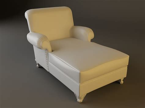 white leather chaise white leather chaise chair 3d model max obj 3ds fbx