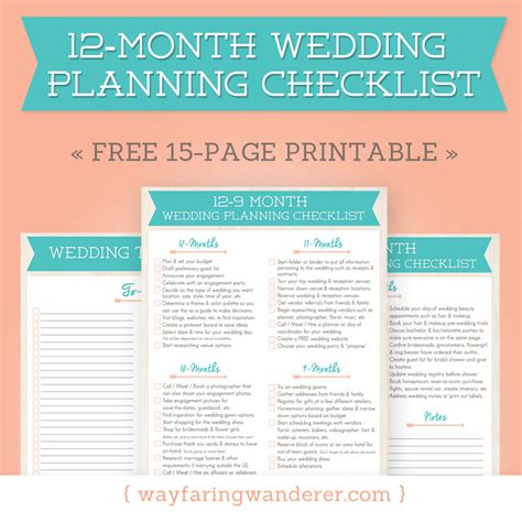 Printable Wedding Checklist With Timeline by Wayfaring Wanderer 12 Month Wedding Planning Checklist