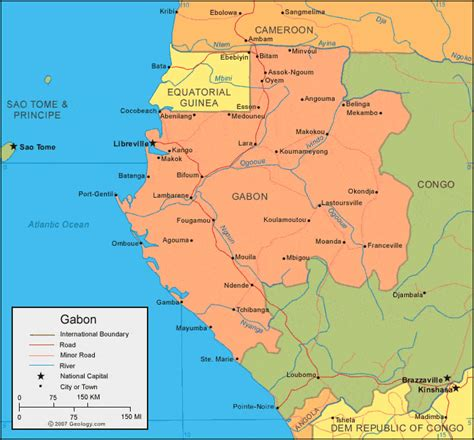 where is gabon on the world map gabon map and satellite image