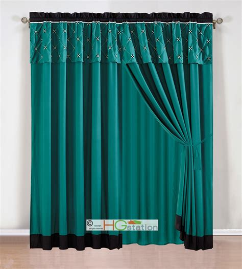 teal valance curtains 4p prairie floral diamond star lattice curtain set teal