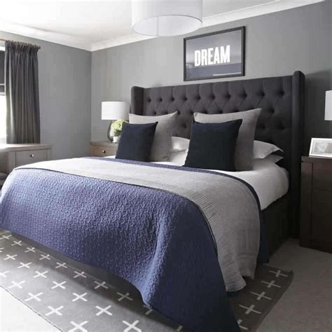 grey  navy bedroom urban outfitters rug upholstered
