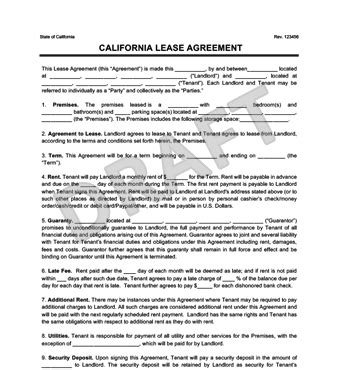 California Residential Lease Rental Agreement Create Download Rental Agreement Template California