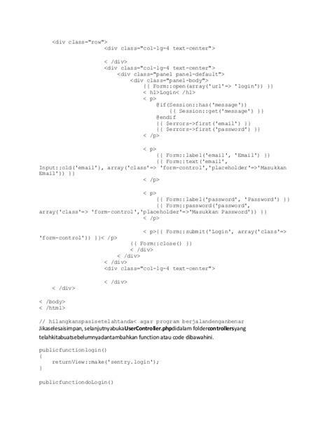 laravel sentry tutorial laravel bagian authentication dan login tutorial laravel 4