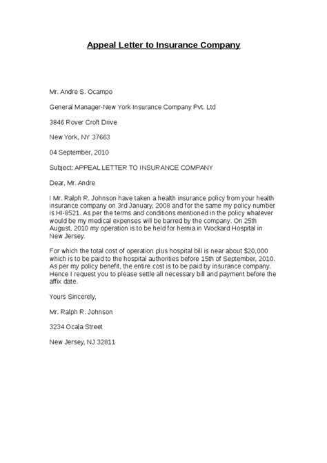 Appeal Letter to Insurance Company   Hashdoc
