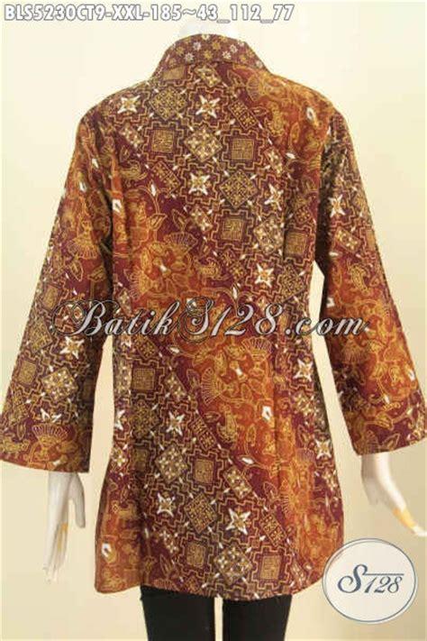 Gamis Batik Cap Jumbo baju batik jumbo model kerah kotak blus batik elegan