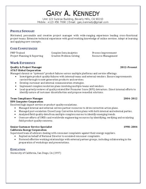 Quality Resume by Project Manager Competencies Resume Exles