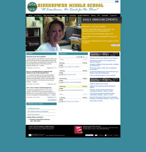 Middle School Website by Eisenhower Middle School Website Launched
