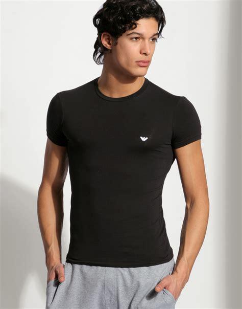 T Shirtskaos Priaemporio Armani 1 emporio armani stretch cotton crew neck t shirt in black for lyst