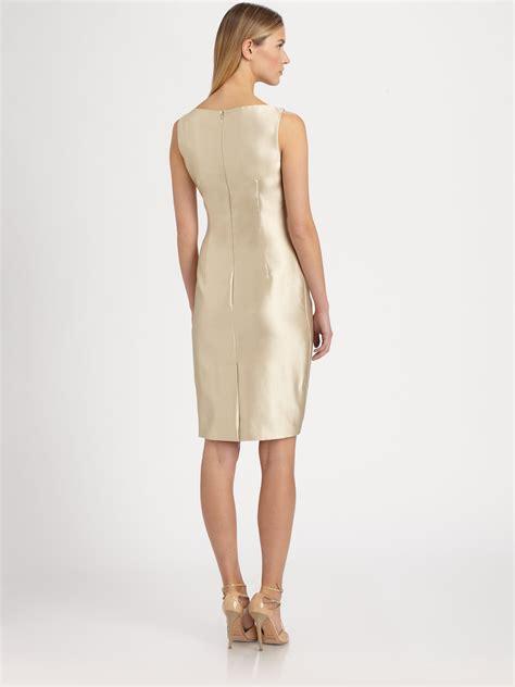 Maxmara Silk Choco max mara wrap effect silk cotton shantung dress in lyst