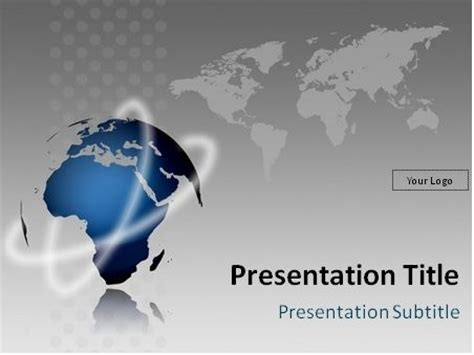 free globe model and world map powerpoint template this