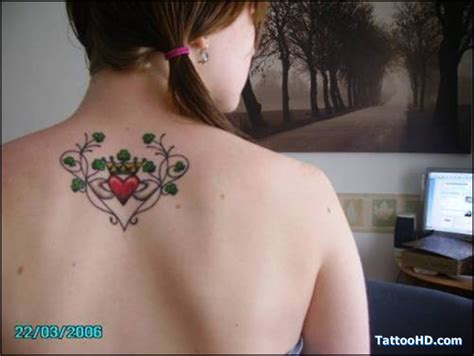 heart back tattoo designs claddagh on back for