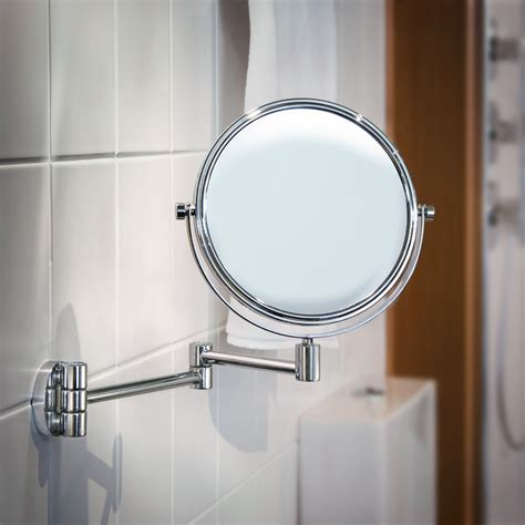 swing arm bathroom mirror smedbo outline polished chrome shaving make up mirror on