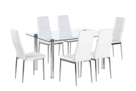 flow rectangular glass dining table 6 white chairs