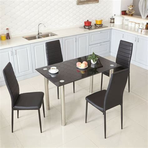 rectangle kitchen table and chairs black glass dining table and 4 faux leather chairs rectangle modern kitchen ebay