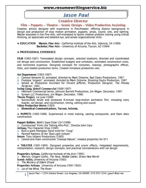 Sle Resume Of A Creative Director creative writing resume 28 images freelance writer