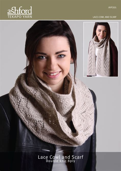knitting pattern for scarf 8 ply ashford handicrafts lace cowl and scarf