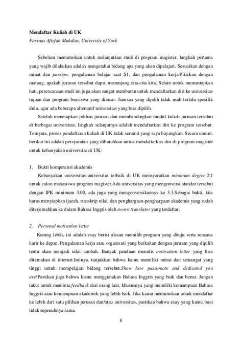 Contoh Motivation Letter Dalam Bahasa Indonesia Untuk Beasiswa kuliah di inggris raya slideshares