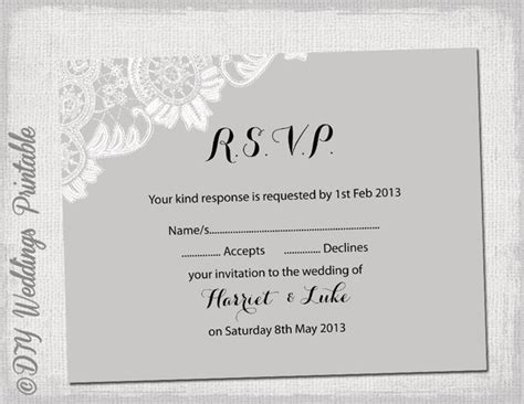 reply card wedding template wedding rsvp template diy silver gray antique