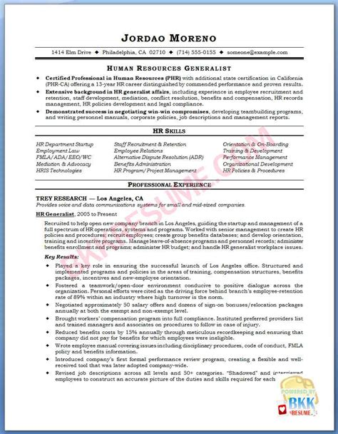 hr resume exles hr generalist resume resume human resources generalist h